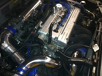 drag car engine bay